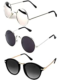 Y&S Sunglasses for Mens/Womens/Boys/Girls (Black-Brown-Silver-Round-Combo-of-3Sum-Sunglasses-Stylish)