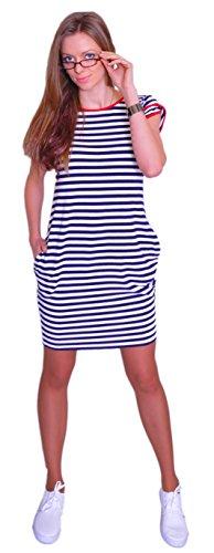 Sommer SeXy TUNIKA Marine Kleid mit Taschen Kurzarm