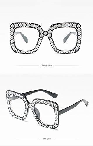 ZJWZ Box Sonnenbrille Damen Imitation Diamond Sonnenbrillen Tide Europa und Amerika fließen Persönlichkeit Sonnenbrille Netz rote Gläser,blackclear