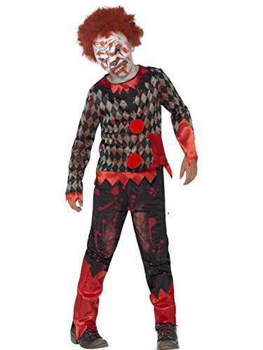 erdbeerclown - Jungen Kinder Kostüm Hochwertiges Horror Clown Zirkus Hose mit Obertiel und Latex Maske, Zombie Clown Deluxe, perfekt für Halloween Karneval und Fasching, 122-134, Schwarz