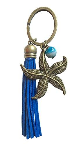 Seesterne Tee (Seestern Vintage Schlüssel Anhänger mit Achatperle Maritim Bronze)