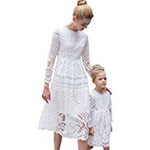 Minetom Los Niños De Encaje Vestido Madre E Hija Padres E Hijos Equipo A-La