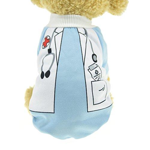 MUYAOPET Doctor Dog Kostüm Winter Warm Hund Shirt Kleidung Hoodies Sweatshirts für Kleine Hunde, XL, Doctor