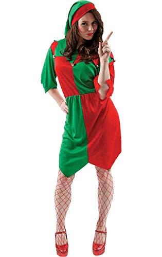 Damen Weihnachten Elf Kostüm Weihnachtsfeier Santas Helfer Karneval - Erde Fancy Dress Kostüm