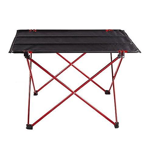 Ailier Portable Klappstuhl und Tisch Camping Hocker Leichte kleine gefaltete Sitz für Outdoor Auto Angeln Camping (Rote(Tische*1), Tische*1)