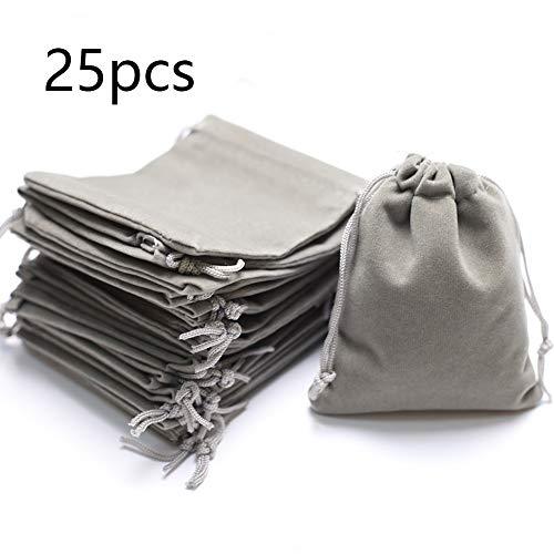 DAHI Säckchen 25stk Schmuckbeutel aus Samt - Schmucksäckchen geschenksäckchen Hochzeit Party für Geschenk Taschen Schmuck Beutel (hell grau)