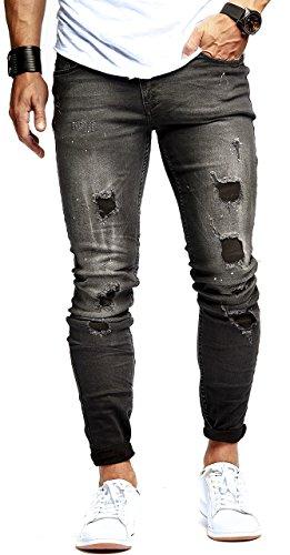 LEIF NELSON Herren Hose Jeans Stretch Schwarz Jeanshose Freizeithose Denim Slim Fit LN9905SC; W29L32, Blau
