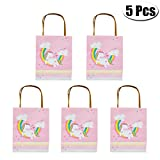 Mcree 5Pcs Unicorn Paper Gift Bag Party Favor Bags with Handles for Kids Birthday and Parties