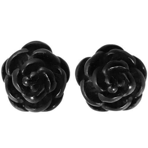 JewelryWe 6mm Pendientes de Mujer, Rosas Negras Flores Dulces, Acero Inoxidable Pendientes Pequeños para Chica, Vintage Gótico Color Negro