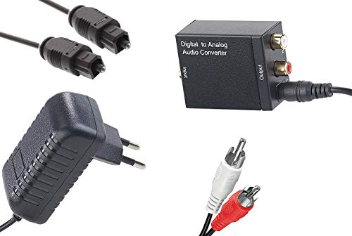 auvisio Spdif Adapter: Audio-Konverter Digital (Toslink/Koaxial) zu Analog (Cinch) mit Kabel (Audio Wandler)