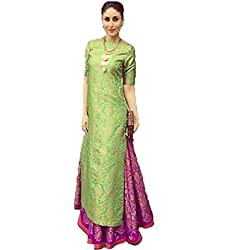 SUNSHINE Green & Purple Color Banarasi Fabric Kurta-Salwar (Semi-Stitched)