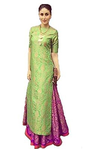 Sunshine Fashion Women's Cotton Silk Dress Material (Isund134_2_Green-Pink)