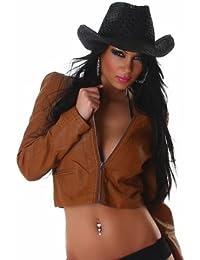 La veste courte imitation cuir (3D093)