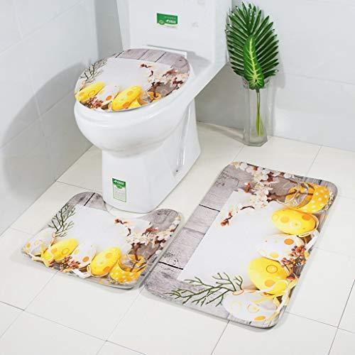 Yazidan Toilettenmatte Set,Ostern Toilettenmatte dreiteilig Rutschfester Sauggriff Badematte Bad Küche Teppich Fußmatten Decor 3 STÜCKE
