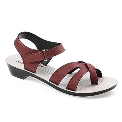 Paragon Women's Red Sandal-4 UK/India (37 EU)(PU50035L)