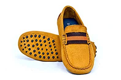 GENTLE XACT Suede Leather Loafer Shoes for Kids Boy loffer Shoes Italian Brown Soft Genuine Leather