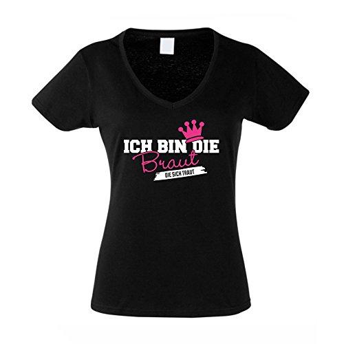 Damen T-Shirt mit V-Ausschnitt zum JGA - Ich bin die Braut die sich traut, schwarz-fuchsia, M