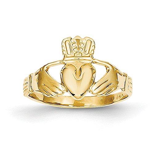 14K Gelb Gold Poliert Claddagh Ring a9519Größe 6 (Größe 6 Ringe)