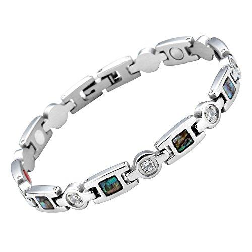 JOVIVI Damen Magnetarmband Edelstahl Magnetische Armband Zirkonia Abalone Muschel Armreif 4-in-1 Magnete Armband Silber