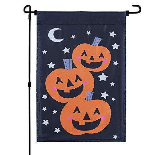 MACTING Doppelseitige Kürbis-Flagge, Satin, Halloween-Flagge, Vertikale Gartenflagge für Kinder, Party, Halloween, Dekoration, 31,8 x 45,7 cm
