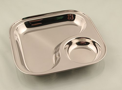 Mayur Exports Stainless Steel Square 2 in 1 compartment plate Set Of 2 pc -26 cm big size