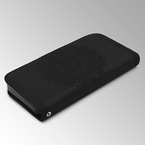 Urcover® Apple iPhone SE / 5 / 5s Handy Schutz-Hülle | Lotus Pattern Wallet Braun | Kartenfach & Standfunktion | Flip Case | Trendy Tasche | Cover Schale | Smartphone Zubehör Schwarz