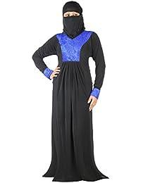 Hawai Women's Islamic Polyester Abaya Burqa, Free Size(WB00150, Black and Blue)