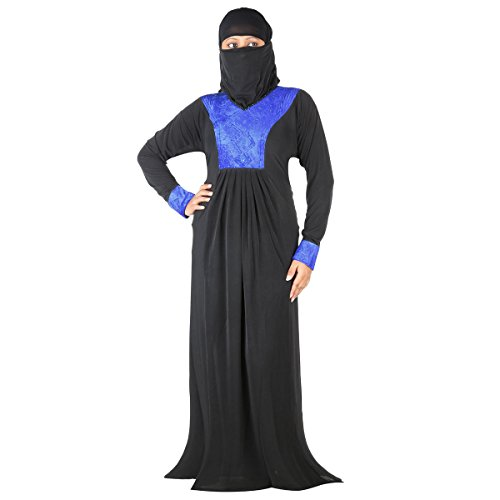Hawai Black Blue Islamic Designer Polyester Abaya Burqa