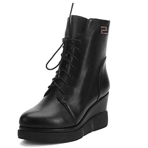 VogueZone009 Damen Hoher Absatz Eingelegt Rund Zehe Reißverschluss Stiefel mit Metallisch, Weiß, 44