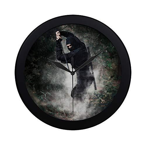 EIJODNL Modern Simple The Mysterious Ninja hält EIN Messer in der Hand Wanduhr Indoor Sweep Movement Clock für Büro, Bad, Wohnzimmer Dekor 9.65 Zoll (Moderne Ninja Kostüm)