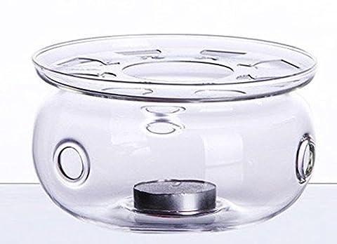 asentechuk® Edles Glas-Stövchen mit Bodenplatte und Teelicht für kleine bis mittlere Teekrüge