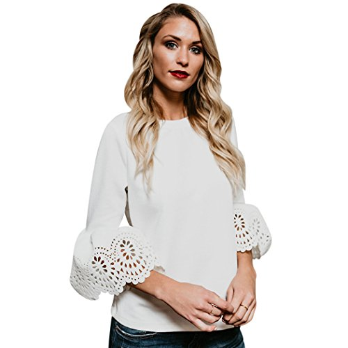 mioim Femmes Tops haut chic blouse mode automne Pull-over Tunique Sweater Femme T-shirt Haut 3/4 Longue Manche Casual Automne Blanc