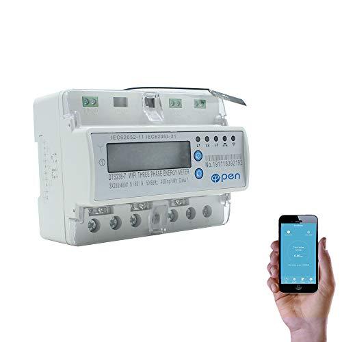 5 (60) A 50 Hz 60 Hz digitaler Stromzähler Drehstromzähler Schiene Din WIFI Smart Energy Meter auf und unter Spannung Stromschutz RS485 Energiemessgerät