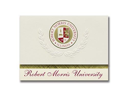 Signature Ankündigungen Robert Morris Universität, Illinois Graduation Ankündigungen, platin Stil, Basic Pack 20mit Robert Morris College, Illinois Dichtung Folie