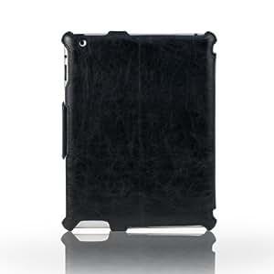 Schutzhülle für Apple iPad 4, 3 & iPad 2 Kunstledertasche mit Sleep Wake up Funktion Case mit Narbung Hülle, Color:Schwarz