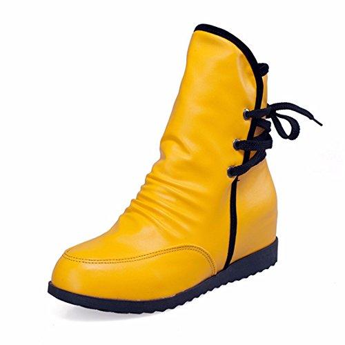 De hautes bottes bottines lacets femme code après lautomne et lhiver la mode yellow