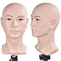 Training Head Cosmetology Professional Bald Manikin Head for Wigs Making and Display Doll Head with (Table Clamp Holder Included)