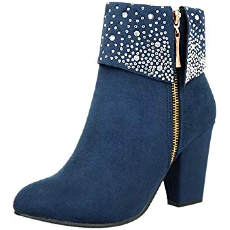 Femmes Strass éPais éPais Strass Carré Flock Cheville Zipper Bottes Chaudes Chaussures à Bout Rond - B07HKS7JF3 - f719e0