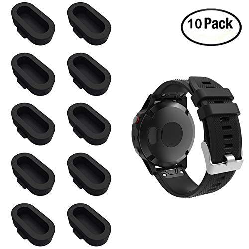 XIHAMA für Garmin Fenix 5 / 5S / 5X Staubstecker, Silikon-Ladegerät Port Protector Anti Dust Plugs Kappen für Garmin Fenix 5 / 5S / 5X / Forerunner 935 Smart Watch (10 Stück) (Black) Port Protector