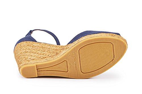 VISCATA Aiguafreda Elegant Comfort, Canvas, Ankle-Strap, Open Toe, Espadrilles with 3-inch Heel Made in Spain Navy