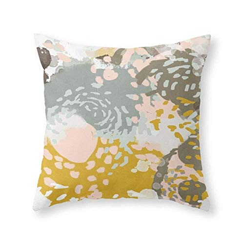 Hutton - Modern Abstract Painting for Home Decor and Cell Phone Cases In Gold Grey Mint White Throw Pillow Indoor Cover (18