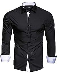 Kayhan Hombre Camisa Manga Larga Slim Fit S-6XL - Modello Twoface + London