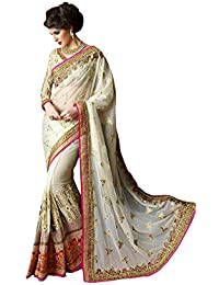Sarees Below 2000 Rupees Women's Georgette & Net Saree With Blouse Piece White Sarees( Party Wear Offer Designer...