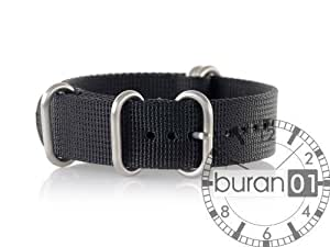 VK von Buran01.com WATCH STRAP FOR NATO NYLON STRONG ZULU Black (schwarz) 24mm