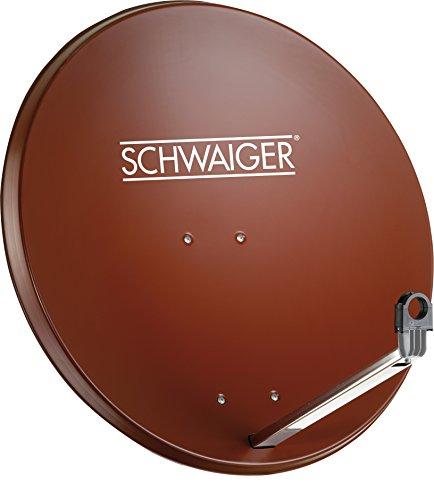 SCHWAIGER -203- Satellitenschüssel, Sat Antenne mit LNB Tragarm und Masthalterung, Sat-Schüssel aus Aluminium, 75 x 85 cm -