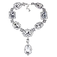 MJARTORIA Womens Vintage Rhinestone Drop Pendant Choker Necklace