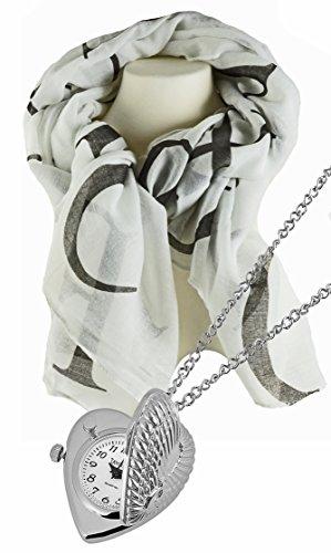 Geschenk Set, hübsche Umhängeuhr in Herzform der Marke Tavolino im Set mit mit luftig leichtem Halstuch, Schal schwarz- weiß mit Schriftzeichen.