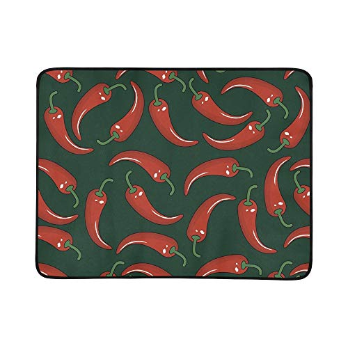 EIJODNL Chilli Peppers Portable and Foldable Blanket Mat 60x78 Inch Handy Mat for Camping Picnic Beach Indoor Outdoor Travel