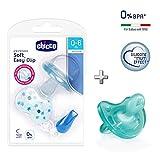 CHICCO Physio Soft, Pack de 2 Chupetes de Silicona, 0-6 m + CHICCO Easy Clip soft
