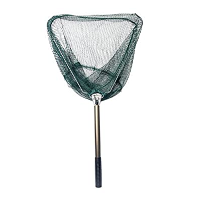 Signstek Foldable Fishing Landing Net Triangular Fish Diddle-net with Retracted Stainless Steel Handle from Signstek